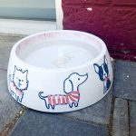 A pink dog bowl with drawn pictures of dogs and cats sits on the patio at Copper Star Coffee.